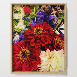 Red Flower Bouquet Serving Tray
