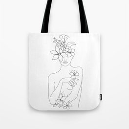 Minimal Line Art Woman with Flowers IV Tote Bag