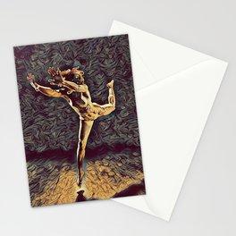 1315s-ZAC Dancer Leaping Air Time Beautiful Black Woman Antonio Bravo Style Stationery Cards