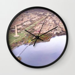 Aerial view of DC, National Mall, Monuments Wall Clock