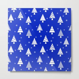 Holiday Christmas Tree Pattern (Blue) Metal Print