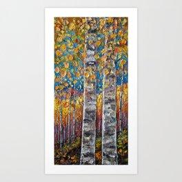 Colorful Autumn Aspen Trees  Art Print