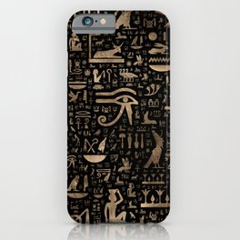 Ancient Egyptian hieroglyphs - Black and gold iPhone Case