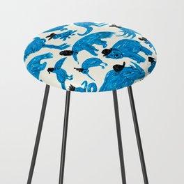 Blue Animals Black Hats Counter Stool