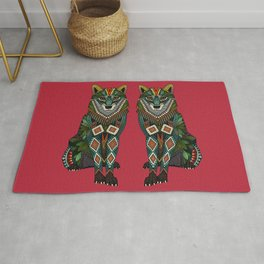 wolf red Rug