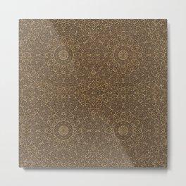 Moroccan Style Pattern Mandala Bronze  Metal Print