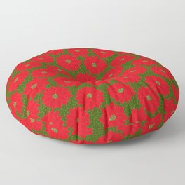 Festive Florals - Red Poinsettia on Green Floor Pillow
