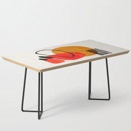 Mid Century Modern Abstract Vintage Pop Art Space Age Pattern Orange Yellow Black Orbit  Coffee Table