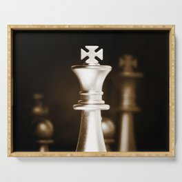 Chess-Sliver King Serving Tray