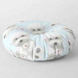 Puppy Hugging His Toy Floor Pillow