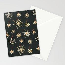 Black Straw Stars Stationery Cards