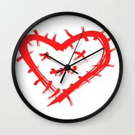 Stitched Heart Wall Clock