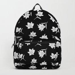 Black & White Botanical Floral Pattern Backpack