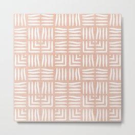 Nappy Faux Velvet Wicker Weave in Pale Peach on Peach Metal Print