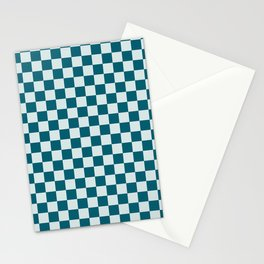 Pale Blue and Tropical Dark Teal Small Checker Board Pattern Inspired by Sherwin Williams 2020 Trending Color Oceanside SW6496 Stationery Cards
