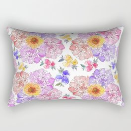 Flower Arrangement in Watercolor and Ink 3 Rectangular Pillow