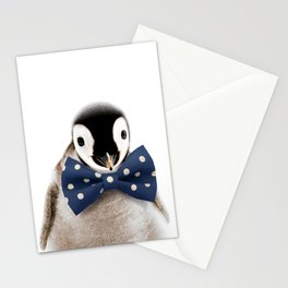 Baby Penguin With Bow Tie, Baby Animals Art Print By Synplus Stationery Cards