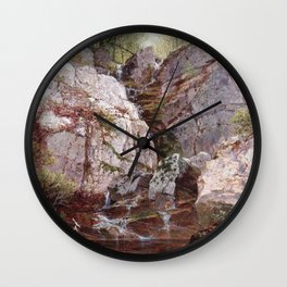 Cascade Rockland County Ramapo Ny 1876 By David Johnson | Reproduction | Romanticism Landscape Paint Wall Clock