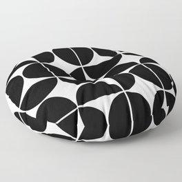 Mid Century Modern Geometric 04 Black Floor Pillow