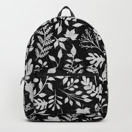 Elegant Silver Glitter Foliage Black Design Backpack