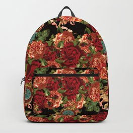 Cherub Floral Vertical Clock Garlands in Black Backpack