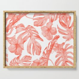 Tropical Hibiscus and Palm Leaves Dark Coral White Serving Tray