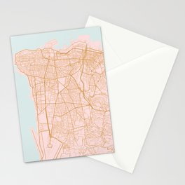 Beirut map Stationery Cards