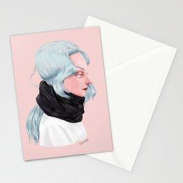 Black muffler. Stationery Cards