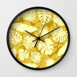 Lemon Yellow Palm Leaf Designs On Sun-Kissed Background Wall Clock