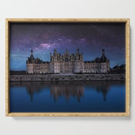 The castle of Chambord with the milky way, Castle of the Loire, France Serving Tray