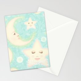 Lady Moons and Stars Pattern Stationery Cards