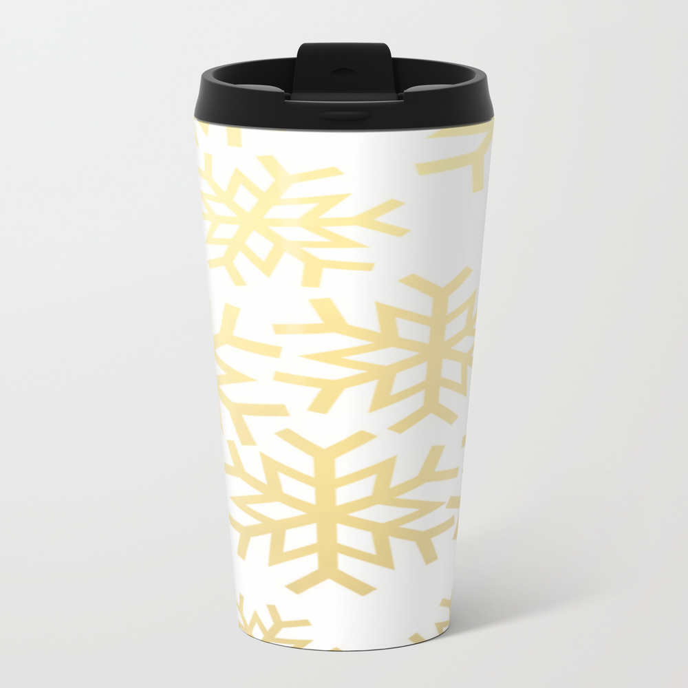 Gold Snowflakes Nature Print Winter Wonderland Bru… Metal Travel Mug by Thestylinghouse MTM8047150
