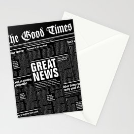 The Good Times Vol. 1, No. 1 REVERSED / Newspaper with only good news Stationery Cards