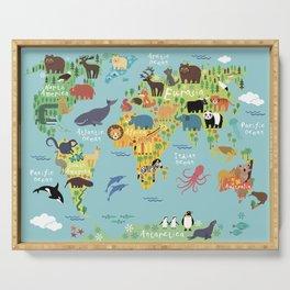World animals map Serving Tray