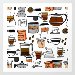Coffee, Coffee Everywhere and All the Drops to Drink Art Print