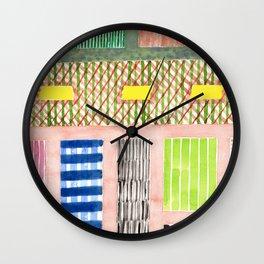 Friendly Pattern Mix On Pink Wall Clock