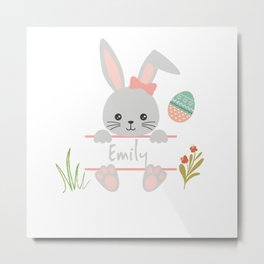 Cute little girl easter bunny with Emily name tag Metal Print