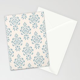 Crest Damask Repeat Pattern Blue on Cream Stationery Cards
