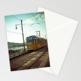 Retro Tram 2 in Budapest. Yellow tram photography. Stationery Cards