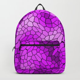 Stained glass texture of snake violet leather with bright heat spots. Backpack