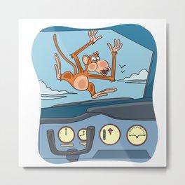Halloween monkey pilot Metal Print