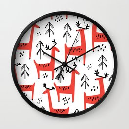 Cute red deer and fir trees. Vintage christmas hand drawn illustration pattern. Wall Clock
