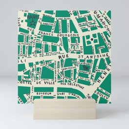 PARIS MAP GREEN Mini Art Print