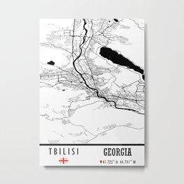 Tbilisi GEORGIA Road Map Art - Earth Tones Metal Print