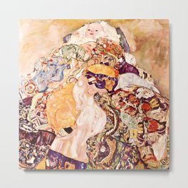 Baby by Gustav Klimt 1908 // Color Enhanced Oil Canvas Painting of Child Covered in Colorful Fabrics Metal Print