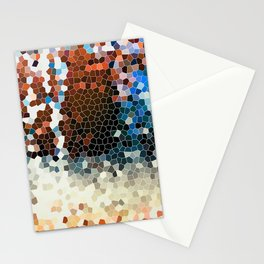 Dark Orange Blue Party Colorful Pattern Design  Stationery Cards