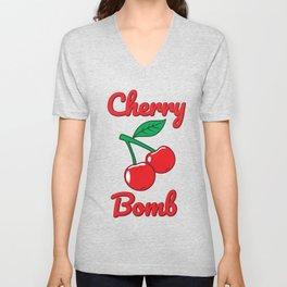 Cherry Bomb Retro Vintage Old Style Design Unisex V-Neck