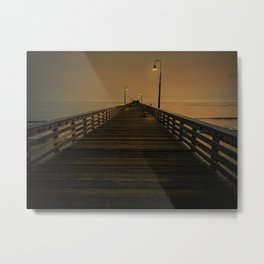 Wooden Pier on Cayucos Beach, California at Sunset Metal Print