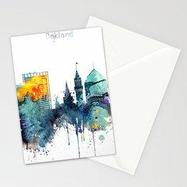 Watercolor Oakland skyline cityscape Stationery Cards