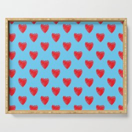 Red love hearts on light Blue sky. Serving Tray